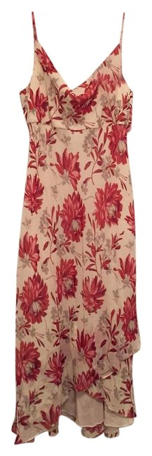 Item - Pink and Cream Floral Mid-length Night Out Dress Size 6 (S)