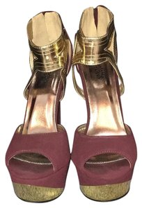 Charlotte Russe maroon and gold Platforms