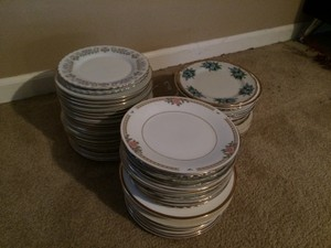 Not Rated Gold Rimmed Mismatched China Tableware