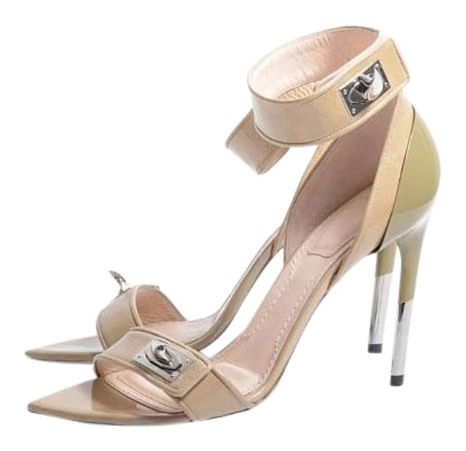 ca45bd638394 Givenchy Beige New Shark Tooth Lock Patent Leather Sandals Size US ...