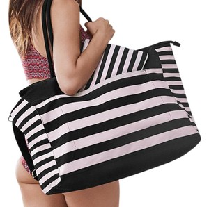 Victoria's Secret Beach Weekender Carryall Striped Pink Black Travel Bag