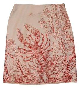 Anthropologie Skirt Whtie snd Coral