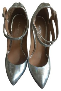 Kurt Geiger London Mettalic Metal Heel Ankle Strap Mary Jane Silver Pumps