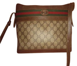 Gucci Mint Satchel in brown leather & large G logo print coated canvas with red/green striped top accent
