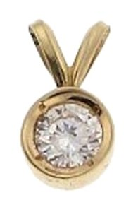 WHOLESALE-14k yellow gold 1/4 ct round brilliant cut diamond pendant