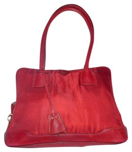 Prada Mint Vintage Roomy Gold Hardware Lock & Key Included Footed Bottom Satchel in true red leather & ruched nylon