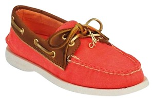 Sperry Boat Gold Leather Coral Flats