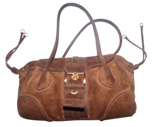Prada Gold Hardware Buckled Front Drawstring Sides Popular Style High-end Bohemian Satchel in leather & suede in shades of brown