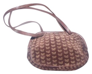 Bottega Veneta Rare Hinged Top Mint Vintage Rare Hard Boxy Oval Dressy Or Casual Satchel in Embossed pink butterfly print on brown suede & brown leather