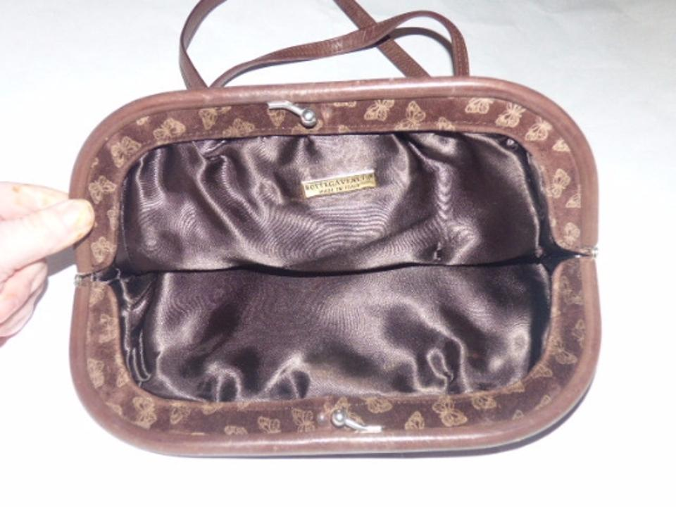 ee1589e5648a Bottega Veneta Vintage Purses Designer Purses Embossed Pink Butterfly Print  On Brown Suede   Brown Leather and Satchel - Tradesy