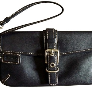 Coach Women Black Leather Wristlet