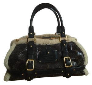 Louis Vuitton Limited Edition Shearling Satchel in Brown, Tan, White, Black