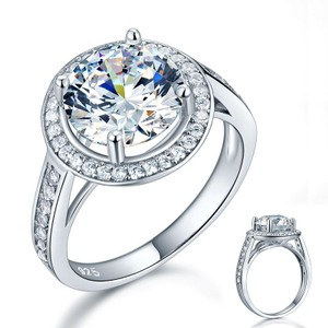 9.2.5 2ct Size 6 Diamond Ring Wedding Bridal Cz Lab Engagement Proposal Round Cut Princess Jewelry