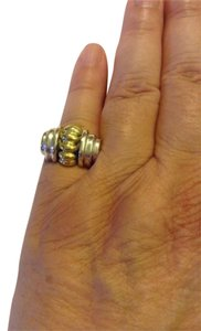 Lagos size 7, two-tone, sterling silver, 18k yellow gold ring