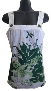 Urban Outfitters Tropical Floral Leaf Summer Top White & Green