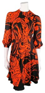 Gucci Floral Scarf Pleated Ruffle Dress