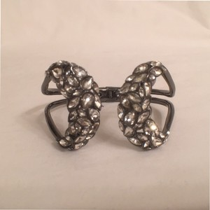 Alexis Bittar NEW! Metallic Silverish Black W/Clear Crystals Hinged ALEXIS BITTAR