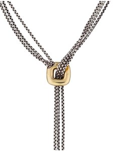David Yurman sterling silver, 18k yellow gold, Lariat necklace