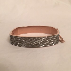 Michael Kors NEW! Rectangle Hinged Bangle Bracelet Rose Gold Tone Pave Crystal