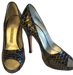 Luciano Padovan Open Toe Snakeskin alligator blue 38.5 Pumps