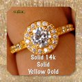 Solid 14k Yellow Gold New 2.50 Ct Manmade Diamond Engagement Ring