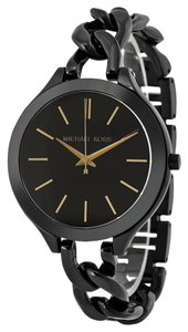 Michael Kors NWT MICHAEL KORS Slim Runway Black Stainless Steel Watch MK3317