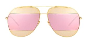 Dior Split 59mm Aviator Sunglasses Rose Gold/Grey Rose