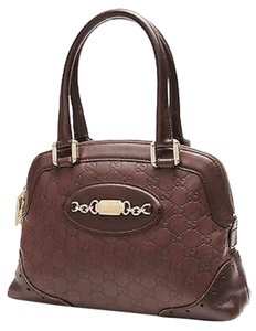 Gucci Leather Tote Monogram Satchel in Brown