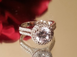 Cz Silver Plated Engagement Ring Size 8