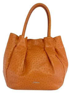 Furla Orange Ostrich Leather Satchel