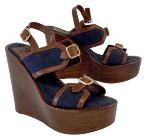 Tory Burch Leather Canvas Platform Wood Wedges