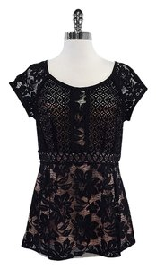 Nanette Lepore Black Pink Lace Fit & Flare Top