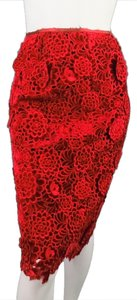 Marc Jacobs Lace Velvet Crochet Skirt Red