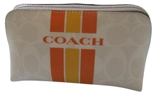 Coach COACH VARSITY STRIPE TRAVEL MAKEUP/COSMETIC BAG/POUCH SIGNATURE F66193