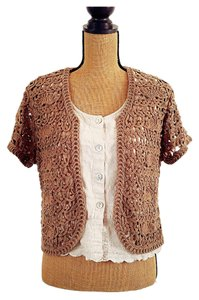 Coldwater Creek Crochet Open Cotton Cardigan
