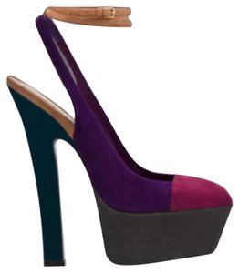 Saint Laurent Purple, pink, gray, green Platforms