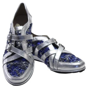 Stuart Weitzman Silver Sequin Sneakers Blue Athletic