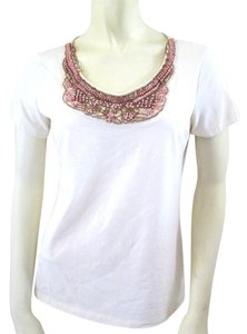 Chico's Embellished Beaded Cotton Stretchy T Shirt
