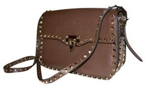 Valentino Rockstud Studded CACAO Brown Messenger Bag