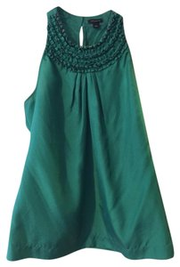 Ann Taylor Silk Top Emerald Green
