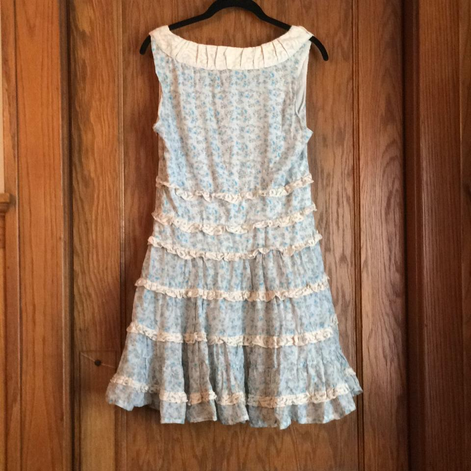 Kensie Cream With Blue Flowers Knee Length Short Casual Dress Size