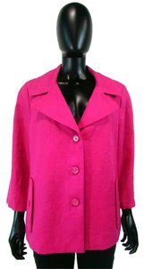 Talbots 3/4 Sleeve Button Down Jacket Pink Blazer