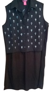 Other Sleevless Sheer Button Down Shirt Black with Silver Crosses