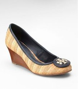 Tory Burch Straw Navy Summer Wedges