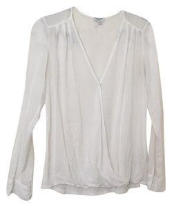 Splendid Cross Drape Cotton Nursing Surplice Top White