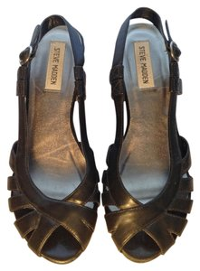 Steve Madden Wedge Slingback Leather Black Platforms