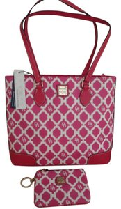 Dooney & Bourke Patterened White Tote in Hot Pink