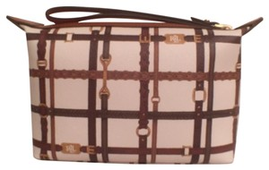 Lauren Ralph Lauren Makeup New (nwt) Faux Leather Wristlet in Ivory (White) Brown Tan