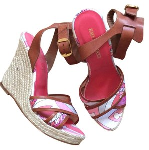 Emilio Pucci Pink Multi with Cognac Leather Wedges