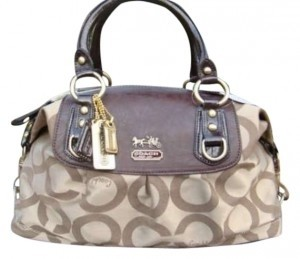Coach Satchel in Khaki Fabric with Drk Brown Leather; Gold Hardward